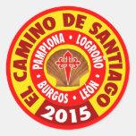 EL Camino De Santiago 2015 Pegatina Redonda