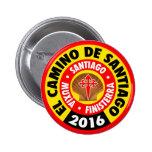 EL Camino de Santiago 2016 Pin Redondo De 2 Pulgadas