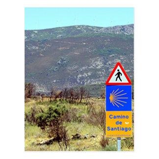El Camino de Santiago de Compostela sign, Spain Postcard