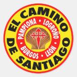 EL Camino De Santiago Pegatina Redonda