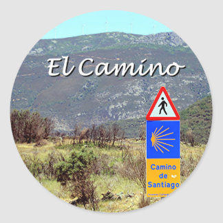 El Camino de Santiago sign (caption) Classic Round Sticker