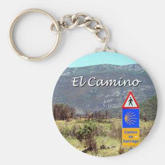 El Camino de Santiago sign (caption) Keychain