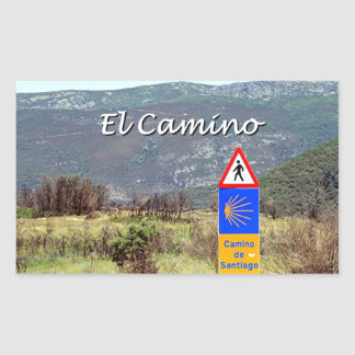 El Camino de Santiago sign (caption) Rectangular Sticker