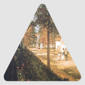 El camino de Versalles de Camille Pissarro Pegatina Triangular