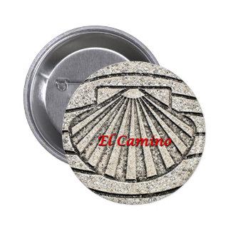 El Camino shell, pavement, Spain (caption) Pinback Button
