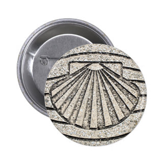 El Camino shell, pavement, Spain Pinback Button