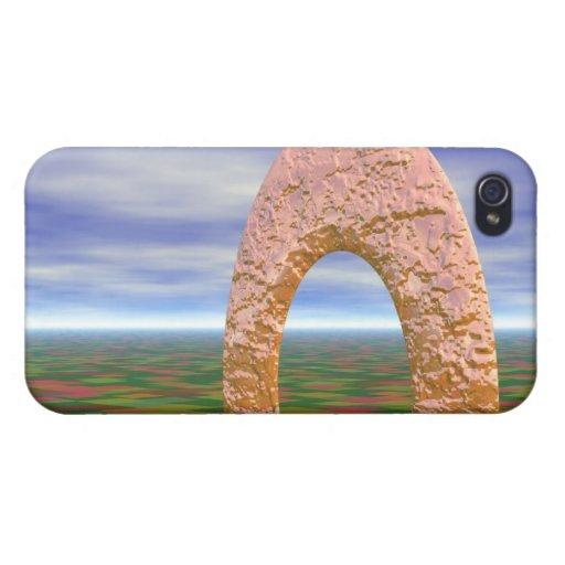 El camino viajó menos, arco abstracto, tierras de  iPhone 4 fundas