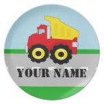 El camión conocido personalizado embroma la placa platos para fiestas