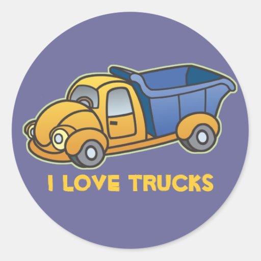 El camión volquete embroma arte pegatina redonda