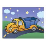 El camión volquete embroma arte tarjeta postal