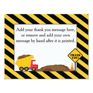 El camión volquete le agradece cardar invitación 10,8 x 13,9 cm