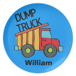 El camión volquete personalizado embroma la placa platos de comidas