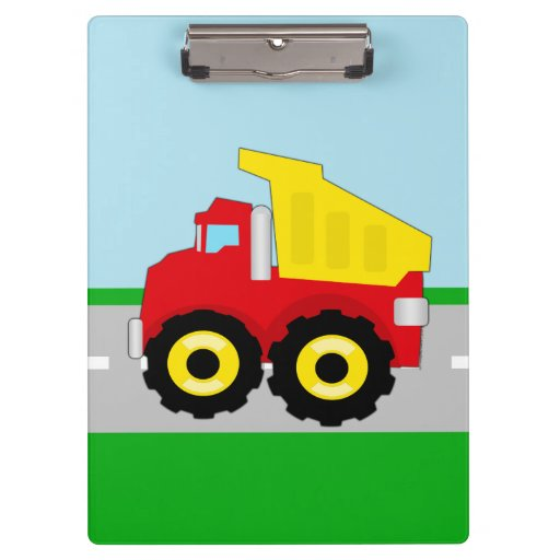 El camión volquete rojo/amarillo del niño en el ca