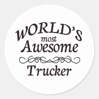 El camionero más impresionante del mundo pegatina redonda