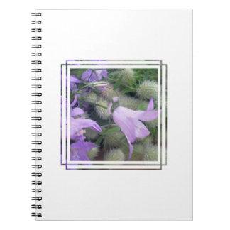 El Campanula florece el cuaderno