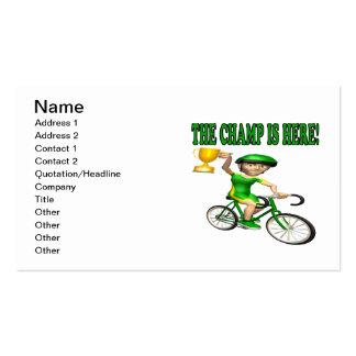 El campeón está aquí tarjetas de visita