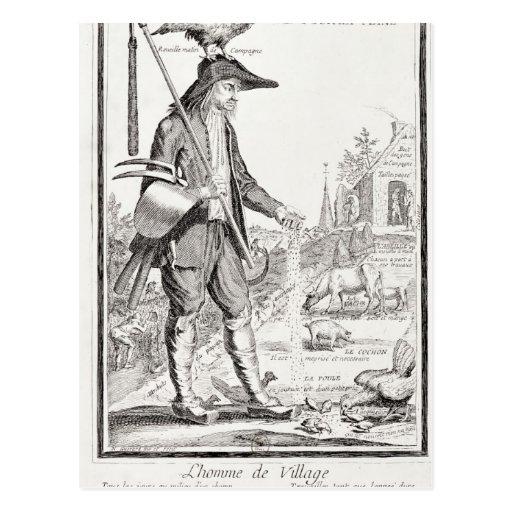 El campesino del pueblo, llevado para sufrir, c.17 postal