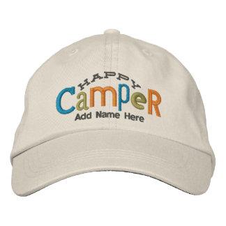 El campista contento personaliza el gorra del bord gorra de beisbol
