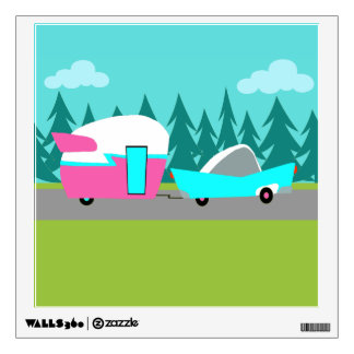 El campista/el remolque y el coche retros vinilo decorativo