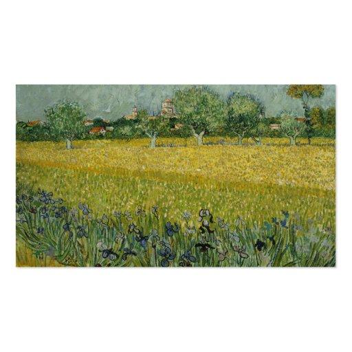 El campo con las flores acerca a Arles, Vincent Tarjetas De Visita