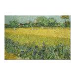 El campo con las flores acerca a la lona de Arles Impresion De Lienzo