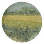 El campo con las flores acerca a la placa de Arles Plato De Cena