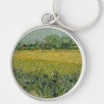 El campo con las flores acerca al llavero de Arles