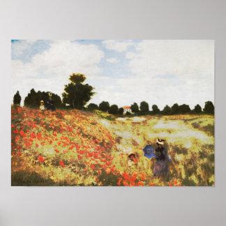 El campo de la amapola cerca de Argenteuil de Clau Póster