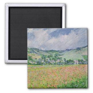 El campo de la amapola cerca de Giverny, 1885 Imán Cuadrado