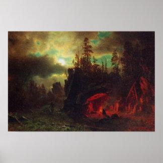 El campo de los Bierstadt-Tramperos de Albert Poster