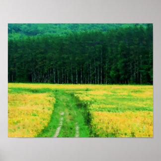 El campo del amarillo florece la pintura de la nat posters