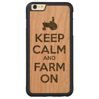 El camuflaje guarda calma y cultiva encendido funda de cerezo bumper carved® para iPhone 6 plus