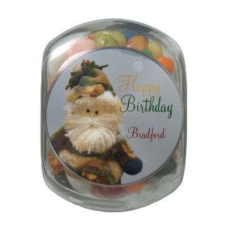 El camuflaje lata feliz del cumpleaños del cazado frascos de cristal