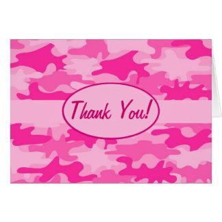 El camuflaje rosado fucsia de Camo le agradece de  Tarjeta Pequeña