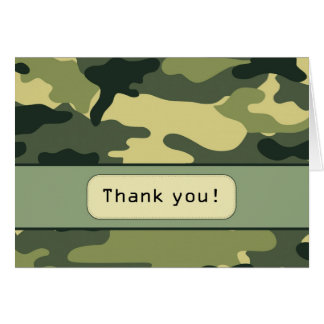 El camuflaje verde le agradece observar tarjeta pequeña