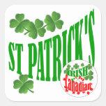 El canadiense irlandés de St Patrick Calcomanias Cuadradas