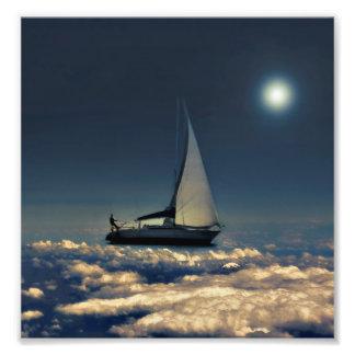 El canal de navegación se nubla el collage soñador impresión fotográfica