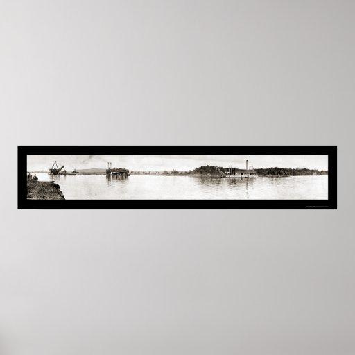 El Canal de Panamá draga la foto 1913 Póster