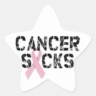 El cáncer chupa - la cinta del cáncer de pecho pegatina en forma de estrella