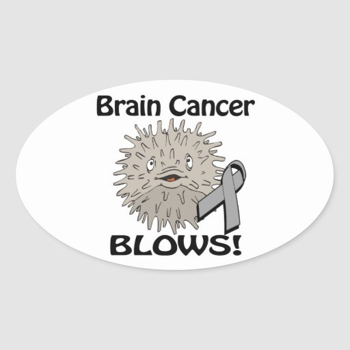 El cáncer de cerebro sopla diseño de la conciencia pegatina ovalada
