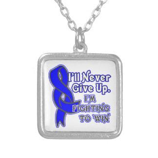 El cáncer de colon I nunca dará para arriba Collar Plateado