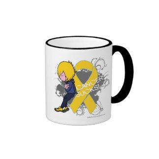 El cáncer de la niñez chupa (el muchacho) taza de dos colores