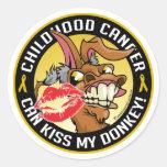 El cáncer de la niñez puede besar mi burro pegatinas redondas