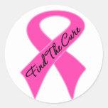 El cáncer de pecho encuentra la curación etiquetas redondas