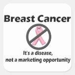 El cáncer de pecho es oportunidad de márketing de calcomanias cuadradas
