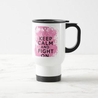 El cáncer de pecho guarda calma y lucha On.png Taza De Café