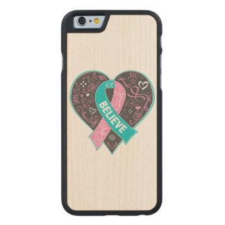 El cáncer de pecho hereditario cree el corazón de funda de iPhone 6 carved® slim de arce