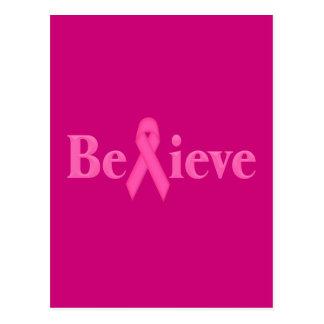 El cáncer de pecho rosado de la cinta cree tarjetas postales