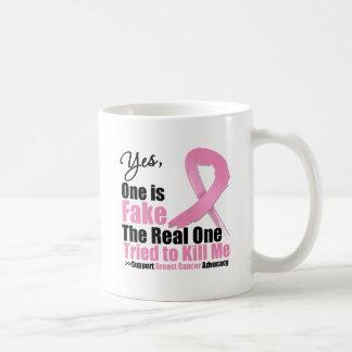 El cáncer de pecho uno es falsificación taza básica blanca