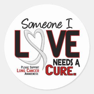 El cáncer de pulmón NECESITA una CURACIÓN 2 Pegatina Redonda